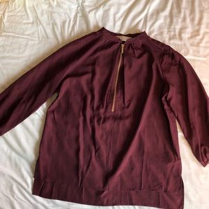 Michael Kors burgundy blouse with gold zipper